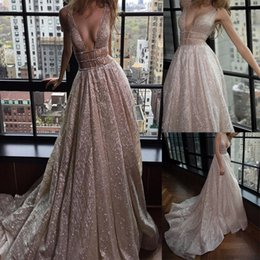 Wholesale Asymmetrical Bridesmaids Dresses - Spaghetti Straps A-Line Deep V-Neck Court Train Open Back Champagne Sequined Prom Dress with Beading Cutout Side Evening Dresses