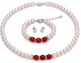 Wholesale Genuine Jade Jewelry Set - New Fine Genuine Pearls Jewelry Set 8-9mm Real White Pearl red jade Necklace 18inch Bracelet 7.5inch Earring Set