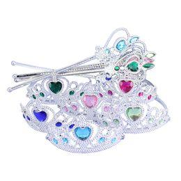 Wholesale Kids Headbands Wholesale - crown tiara headband set Princess Elsa Anna Frozen Queen Magic Wand princess cosplay magic wand rhinestone magic wands for kids in stock