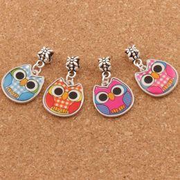 Wholesale Side Bracelets - Two-Sided Enamel Cute Owl Big Hole Beads 60pcs lot 4Colors Fit European Charm Bracelets Jewelry DIY B1557 18.8x31.5mm