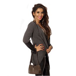 Wholesale Leather Computer Sleeve - Wholesale- 2017 Fashion Thin Cardigan PU Leather Knitted Patchwork Long Sleeve sweater Women Sweater Lapel Jacket Coat Women Outwear