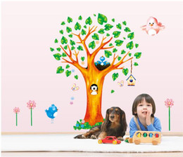 Wholesale Bird Butterfly Wall Decor - Bear Bird Butterfly tree Wall Stickers For kids rooms living room bedroom Home Decor DIY Decoration PVC Removable Waterproof *