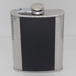 Wholesale 4oz Leather Flask - Noble business man Black PU Leather Gentry Flask 4 ounces alcohol flagon stainless steel Whiskey Wine Pot jug portable travel 4oz hip flask