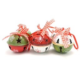 Wholesale Merry Christmas Ribbon - Wholesale-Christmas tree decorations 6pcs red green white metal jingle bell with ribbon for home 50mm merry Christmas xmas ornaments