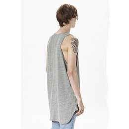 Wholesale Sexy S Curve - Wholesale- 2016 NEW TOP kanye oversized Men's Tank Tops hiphop Fashion Casual solid extended curved hem vest
