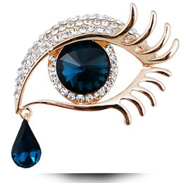 Wholesale Eye Pins For Jewelry - Wholesale- crystal angel tears with big eyes brooches for women rhinestone pins and brooches Korean style fashion jewelry wedding brooches