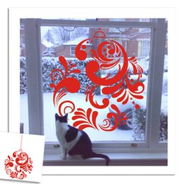 Wholesale Christmas Wreath Decorations Wholesale - DIY Christmas red decorations wall sticker Carved Removable best wish new year wreath Windows Decorating art Sticker Decor 2017 Wholesale