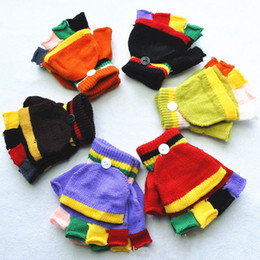 Wholesale Fingerless Gloves Boys - Warm Winter Kids Gloves Soft Striped Fitness Fingerless Glove Knitted Half Finger Children Boys Girls Student Mittens
