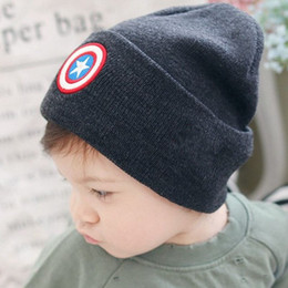 Wholesale Boys Beanie Blue - 2017 New Autumn Winter Hats for Children Fashion Boys Girls Kids Knitted Wool Hat Beanies Five-pointed Star Cute Baby Caps Gorro