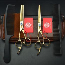Vente en gros- 6 pouces or gaucher 6 pouces prune Design décoratif ciseaux de coiffure Barber Scissor ciseaux de coupe Ciseaux ? partir de fabricateur