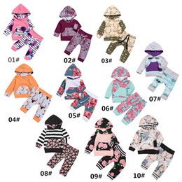 Wholesale Girls White Hoodie - Over 10 styles Christmas Outfits Baby Boy Girl Clothes Newborn Fashion Cartoon Floral Hoodies Sets kids Long Sleeve Clothing 0-24M