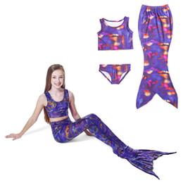 Wholesale Swimwear Three - Cute Cartoon Mermaid Girls Swimwear Three Piece Kids Swimsuits Gradient Fish Swims Performance Swimming Kids Bikinis