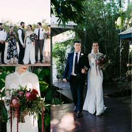 Wholesale Australia Dresses - 2017 Australia Lace Wedding Dresses with Long Sleeves Wrap Sheath Spaghetti Straps Wedding Bridal Gowns Sweep Train Front Split
