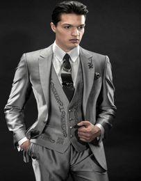 Wholesale Men Grey Dress Pants - Wholesale- Fashionable One Button Grey Embroidery Groom Tuxedos Groomsmen Mens Wedding Suits Formal Dress (Jacket+Pants+Vest+Tie) NO:039