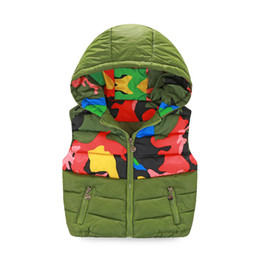 Wholesale Camouflage Waistcoat - Boys autumn and winter vest new Slim hooded cotton vest fashion Camouflage print Kidss models down jacket waistcoat vest