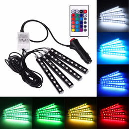 Wholesale Decorative Floor Lights - DC 12V 9 SMD 10W 4Pcs 5050 Car Auto LED RGB Interior Floor Decorative Atmosphere Strip Pathway Deco Floor Light Remote Control