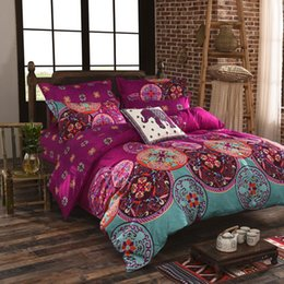 Wholesale Queen Size Vintage Bedding - Luxury Bohemian bedding set 4pcs king queen full size cotton vintage bedding sets bedspread sheets bed luxury home textile