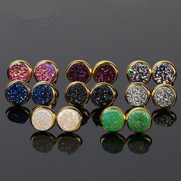 Wholesale Rainbow Druzy - Fashion Women Oval Stud Earrings Rainbow Druzy Stud Earrings Women Jewelry Oval Druzy Stud Earring Drusy Quartz Earrings