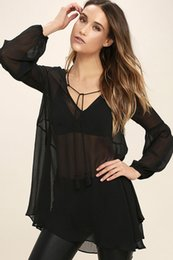 Wholesale Transparent Womens Clothes - Womens Tops Fashion Sexy V Collar Transparent Long Sleeve Chiffon Womens Clothing Lantern Sleeve Top