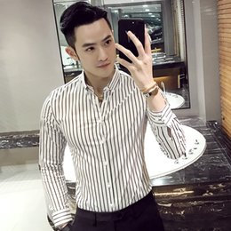 Wholesale british dress shirts - Wholesale- Camisa Social Slim Fit Mens White Wedding Shirts 2017 Mens Black And White Striped Shirts Prom Dress Shirts Mens British Dinner
