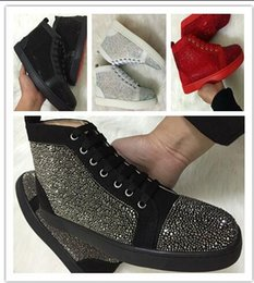 Wholesale Spiked Shoes Red Sole - 2017 new wholesale Luxury brand real Leather men casual shoes with Rivet Spiked Red soles trainers men sneaker baskets size:36-47 drop sh