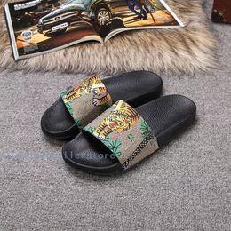 Wholesale Worn Flip Flops - Summer men and women leather printed pattern slippers word drag anti-skid flat wear-resistant slippers outdoor leisure beach shoes