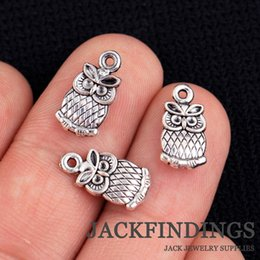 Wholesale Tibetan Owl Necklace - Wholesale-35pcs 15x7mm Antique Tibetan Silver Charms Pendant Wedding Decoration Phone Bracelet Necklace Owl CMG0609