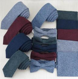 Wholesale Neckties Pocket Squares - cotton 3pcs set for men business tie handkerchief bow tie butterfly 5.5cm necktie bowknot pocket square