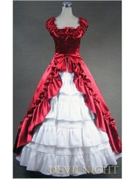 Wholesale theatrical dresses - Deep Red and White Gothic Victorian Dress Southern Belle Victorian Princess Period Old West Party Dress Theatrical Costume