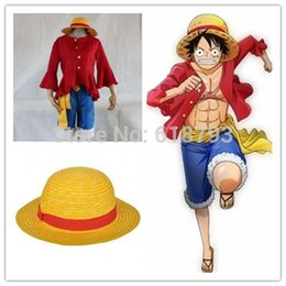 Wholesale One Piece Luffy Costume - Cosplay One piece Costumes One piece Monkey D. Luffy cosplay Set T Shirt+Pants+Hat+yellow belt HU096