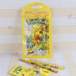 Wholesale Old Rulers - Pikachu stationery set for Students Office & School Supplies poke go Cases Bag (1 book+2 pencils+1 Ruler+1 eraser+1 sharpener +1 bag)