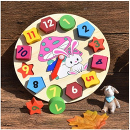 Wholesale Wooden Clock Puzzle - Puzzle Building Blocks Child Wooden Clock Toy Baby Digital Geometry Shape Pair Toys Bright Colors Eco Friendly Early Education 7ad I1