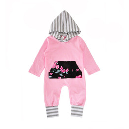 Wholesale Toddler Hoodies For Girls - Baby girls hoodie floral onesie cute front pocket hooded long sleeve pink romper toddlers outfits for 0-2T