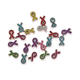Wholesale Enamel Ribbon - Wholesale-20pcs 6.5x5mm mix colors breast cancer awareness ribbon pattern enamel float locket charms for glass locket (B1040)