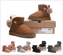 Wholesale Cheap Winter Boots Fur - 2018 New arrive The new winter Australian sheep leather fur waterproof antifouling women boots bow warm snow boots Sell cheap Free shipping