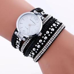 Wholesale Watch Lady Leather Band Bracelet - fashion women ladies leather long bands bracelet watch diamond silver retro casual lady round rivets dress quartz watches