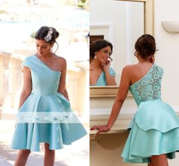 Wholesale One Shoulder Prom Mint - Mint Short Homecoming Dress 2017 One Shoulder Mini Party Dress Prom Gowns with Illusion Back New Arrival