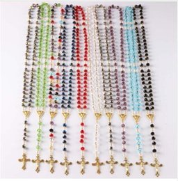 Wholesale Catholic Virgin Mary - NEW Catholic Saint Virgin Mary Rosary Sparkling Mystery Crystal Beads Necklace Jesus Crucifix Cross Pendant