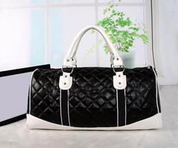 Wholesale Mens Travel Black Bag - top quality High capacity womens mens 55cm travel bag duffel bag shoulder bag handbags