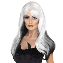 Wholesale Cosplay Lolita Wigs White - Lolita Harajuku Cartoon Long Body Wave Cosplay Hair Wigs Side Bang Heat Resistant Wigs White Ombre Black with Hair Net