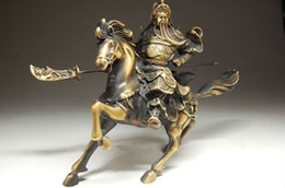Wholesale Chinese Horse Bronzes - Rare Fine Chinese Bronze Statue Guan Gong & Horse NR