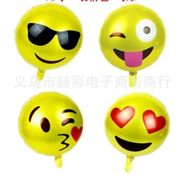 Wholesale Cute Party Cakes - 18inch Birthday Party Foil Balloons Cute Emoji Smiley Mylar Balloons for Wedding Bridal Decorations Or Opening Ceremony