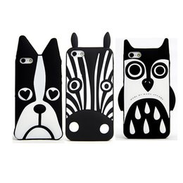 Wholesale Dog Cases Covers - Cute 3D Cartoon Back Cover Heart Dog Owl Zebra Pattern For Iphone 7 6 6s plus Samsung S7 Soft Silicone Cover OPPBAG