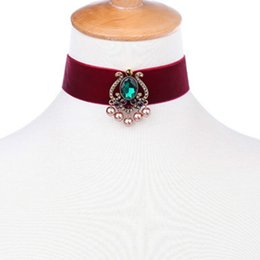 Perle choker halskette band online-Europa und die Vereinigten Staaten Perle Anhänger Halskette Kragen Mode-Accessoires Band Halsreifen