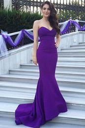 Wholesale Sweetheart Mermaid Petite Wedding Dress - cheap prom dress purple floor-length mermaid strapless sweetheart neckline ruffle satin formal wedding guest dress evening gowns