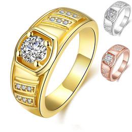 2019 кольцо из желтого золота 14к 24K желтое золото Розовое золото Платина покрыло кольцо людей с боковыми камнями Cut CZ Zirconia Party Ring Men Fashion Jewelry Лучший подарок для друзей скидка кольцо из желтого золота 14к