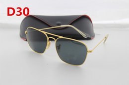 Wholesale Black High Definition Sunglasses - 1pcs high quality Sunglasses brand designer, high-definition golden frame glass lenses, men and women fashion Sunglasses
