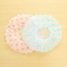 Wholesale Beauty Care Bath - Wholesale- Waterproof Shower Dot Bath Cap Hair Spa Cap For Women Beauty Care Accessories Shower Caps Hotel Shower Hat Dot Bath Hats