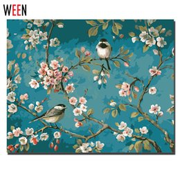 Wholesale Flowering Trees Pictures - ecorative home painting Magpie Tree Flower Painting by Numbers on Canvas Digital Frameless or DIY Framed Wall Pictures 40x50cm For Home D...