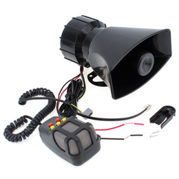 Wholesale Horn Speaker 12v - Super Loud 100W 12V 5 Sounds Motorcycle Car Van Truck Speaker Loud Siren Horn 105db With MIC MOT_50X